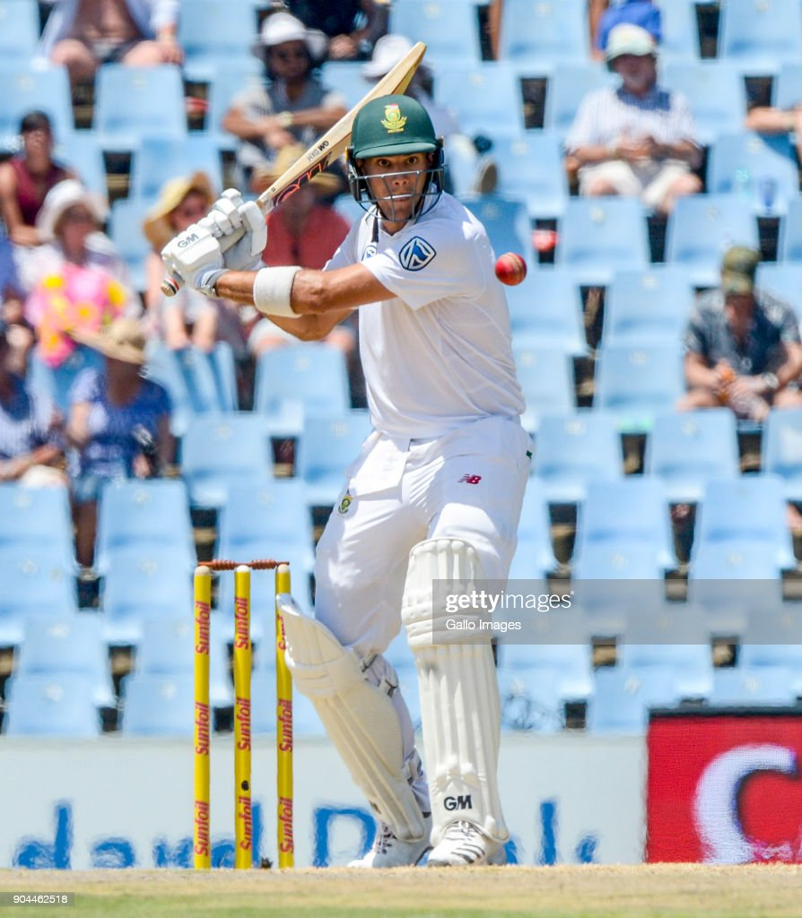 Aiden Markram of South Africa during day 1 of the 2nd Sunfoil Test match between South Africa and India at SuperSport Park on January 13, 2018 in Pretoria, South Africa.