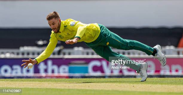 Aiden Markram of South Africa fields his own bowling during the Group Stage match of the ICC Cricket World Cup 2019 between South Africa and...