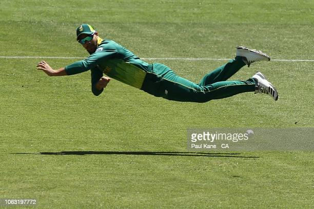 Aiden Markram of South Africa fields the ball during game one of the One Day International series between Australia and South Africa at Optus Stadium...