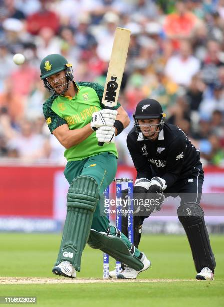 Aiden Markram of South Africa in action batting during the Group Stage match of the ICC Cricket World Cup 2019 between New Zealand and South Afica at...