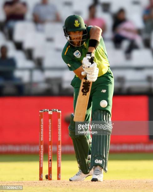 Aiden Markram of South Africa in action during the 5th Momentum ODI match between South Africa and Sri Lanka at PPC Newlands on March 16 2019 in Cape...