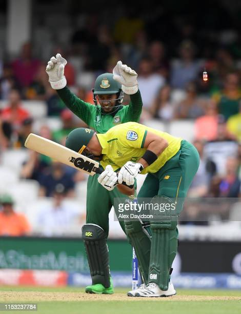 Aiden Markram of South Africa is bowled by Shakib Al Hasan of Sri Lanka as Mushfiqur Rahim of Sri Lanka celebrates during the Group Stage match of...