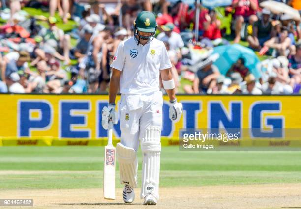 Aiden Markram of South Africa is dismissed during day 1 of the 2nd Sunfoil Test match between South Africa and India at SuperSport Park on January 13...