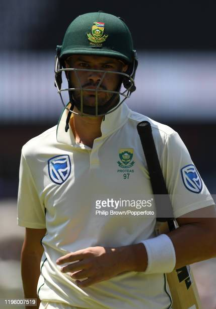 Aiden Markram of South Africa leaves the field after being dismissed during Day One of the First Test match between South Africa and England at...
