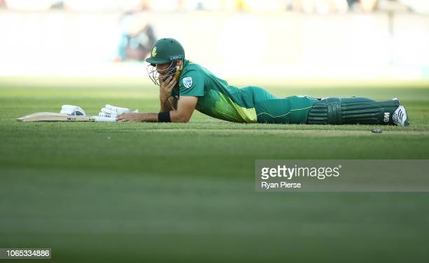 Aiden Markram of South Africa looks dejected after being run out by Marcus Stoinis of Australia during game two of the Gillette One Day International...