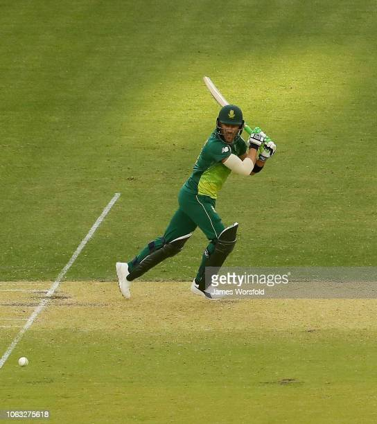 Aiden Markram of South Africa plays a cut shot during game one of the One Day International series between Australia and South Africa at Perth...