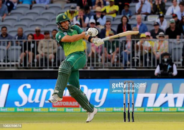 Aiden Markram of South Africa plays a pool shot during game one of the One Day International series between Australia and South Africa at Perth...