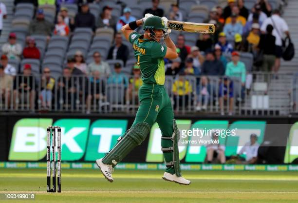 Aiden Markram of South Africa plays a shot onto the on side during game one of the One Day International series between Australia and South Africa at...