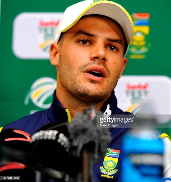 Aiden Markram of South Africa speaks the media on day 3 of the 3rd Sunfoil Test match between South Africa and Australia at PPC Newlands on March 24...