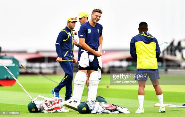 Aiden Markram of South Africa takes part in nets ahead of the 3rd Investec Test at The Kia Oval on July 25 2017 in London England