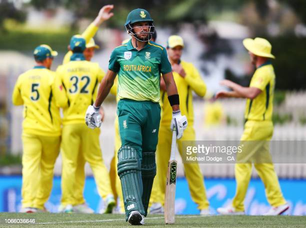 Aiden Markram of South Africa walks off after being dismissed by Mitchell Starc of Australia during game three of the One Day International series...