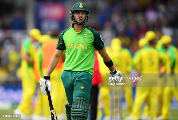 Aiden Markram of South Africa walks off having been dismissed off the bowling of Nathan Lyon of Australia during the Group Stage match of the ICC...