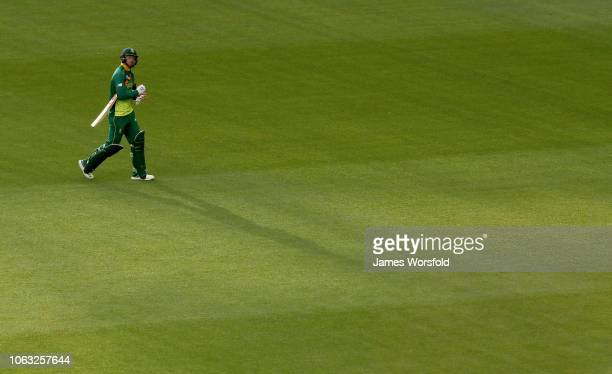 Aiden Markram of South Africa walks off the field after being dissmissed during game one of the One Day International series between Australia and...