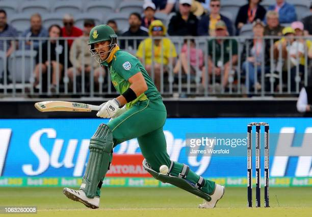 Aiden Markram of South Africa watches the ball go onto the on side during game one of the One Day International series between Australia and South...