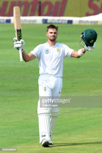 Aiden Markram of the Proteas celebrates his 100 runs during day 1 of the 4th Sunfoil Test match between South Africa and Australia at Bidvest...