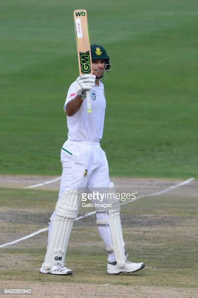 Aiden Markram of the Proteas celebrates his 15o runs during day 1 of the 4th Sunfoil Test match between South Africa and Australia at Bidvest...