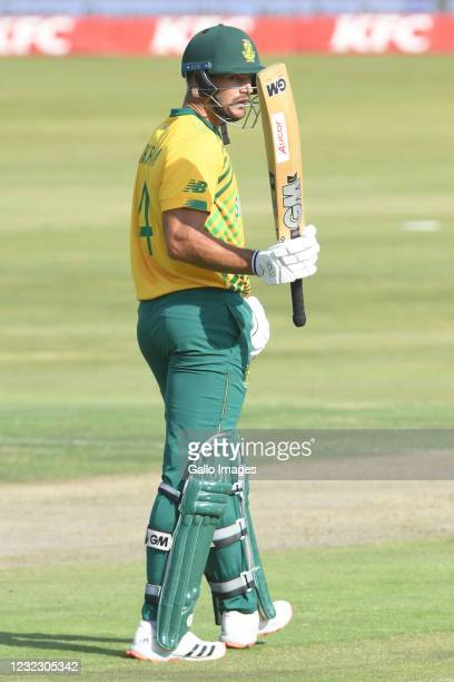 Aiden Markram of the Proteas celebrates his 50 during the 3rd KFC T20 International match between South Africa and Pakistan at SuperSport Park on...