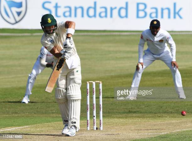 Aiden Markram of the Proteas during day 2 of the 1st Test match between South Africa and Sri Lanka at Kingsmead Stadium on February 14 2019 in Durban...