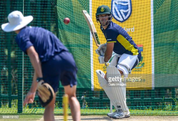 Aiden Markram of the Proteas during the South Africa training session at Bidvest Wanderers Stadium on March 29 2018 in Johannesburg South Africa
