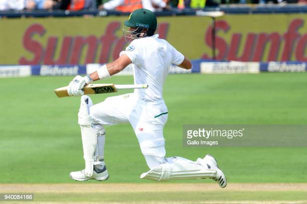 Aiden Markram of the Proteas goes to his 100 runs during day 1 of the 4th Sunfoil Test match between South Africa and Australia at Bidvest Wanderers...