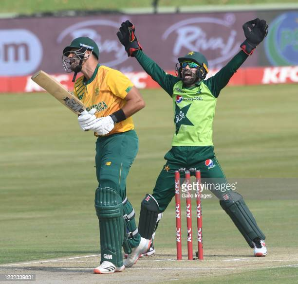 Aiden Markram of the Proteas out for 11 runs during the 3rd Betway ODI between South Africa and Pakistan at SuperSport Park on April 16, 2021 in...
