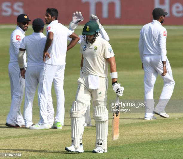 Aiden Markram of the Proteas out for 28 runs during day 2 of the 1st Test match between South Africa and Sri Lanka at Kingsmead Stadium on February...