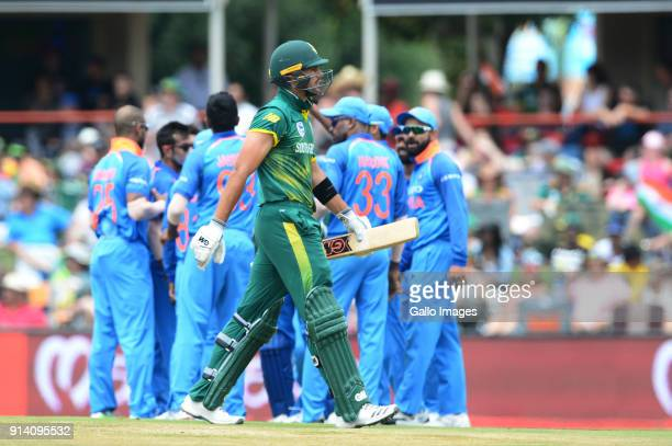 Aiden Markram of the Proteas out for 8 runs during the 2nd Momentum ODI match between South Africa and India at SuperSport Park on February 04 2018...