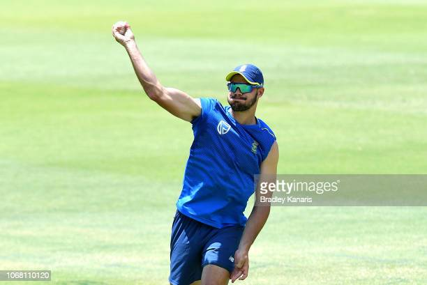 Aiden Markram throws the ball during a South Africa International T20 training session at Allan Border Field on November 16 2018 in Brisbane Australia