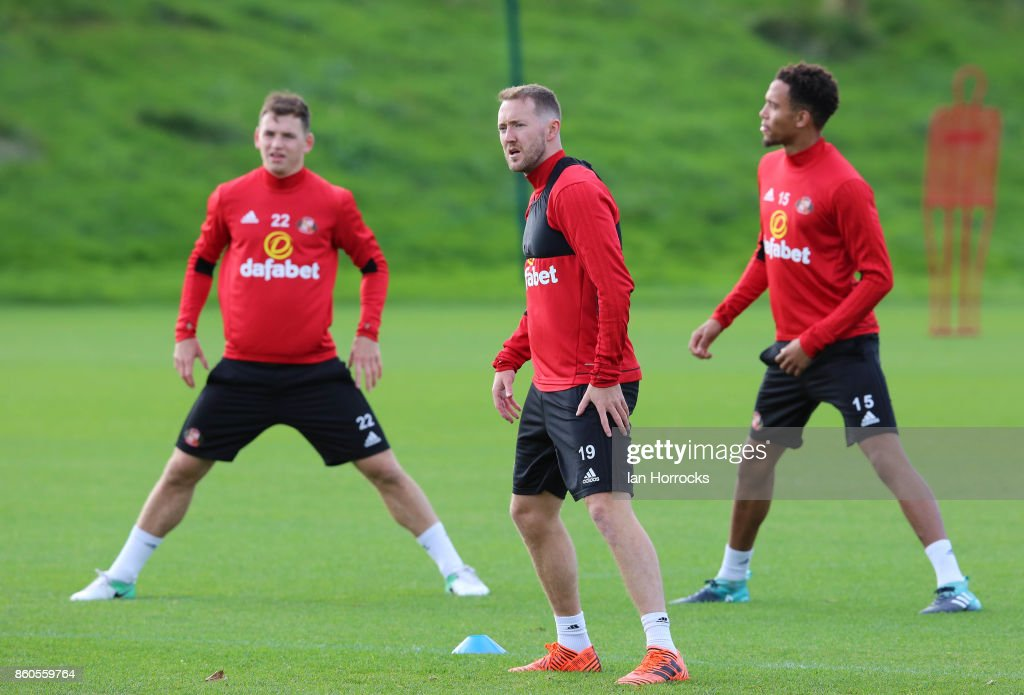 Aiden McGeady during a Sunderland AFC training session at The Academy of Light on October 12, 2017 in Sunderland, England.
