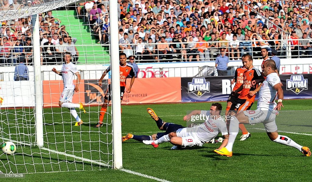 Aiden McGeady (#8) of FC Spartak Moscow scores a goal during the Russian Premier League match betweenn FC Ural Sverdlovsk Oblast and FC Spartak Moscow at the Tcentralny Stadium on July 21, 2013 in Ekaterinburg, Russia.
