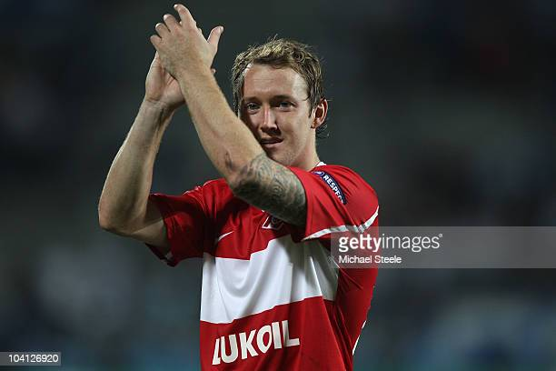 Aiden McGeady of Spartak after his sides 1-0 victory during the UEFA Champions League Group F match between Olympique Marseille and Spartak Moscow at...