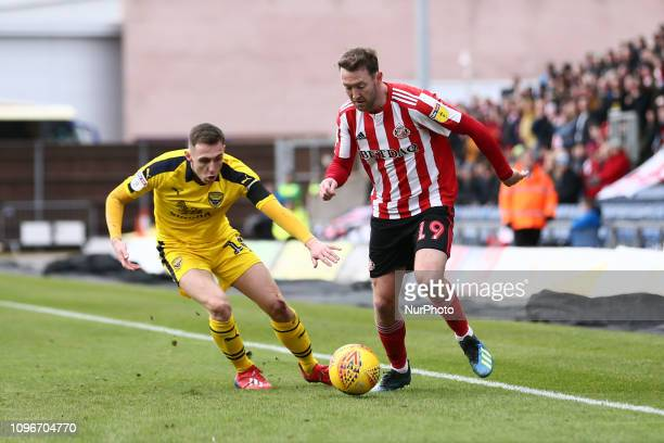 Aiden McGeady of Sunderland and Gavin Whyte of Oxford United during the Sky Bet League 1 match between Oxford United and Sunderland at the Kassam...