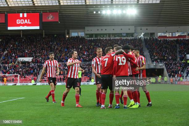 Aiden McGeady of Sunderland celebrates after he scores the third Sunderland goal during the Sky Bet League One match between Sunderland and Southend...