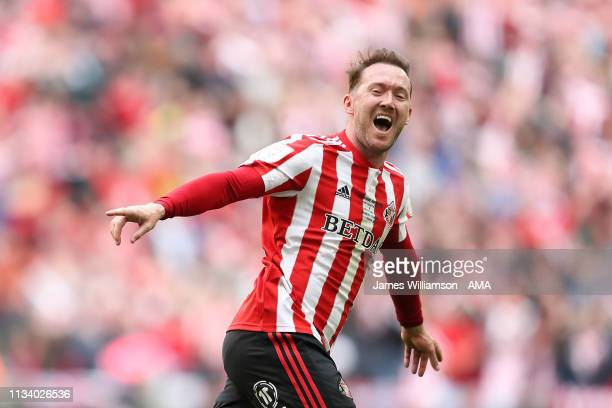 Aiden McGeady of Sunderland celebrates after scoring a goal to make it 1-0 during the Checkatrade Trophy Final between Sunderland AFC and Portsmouth...