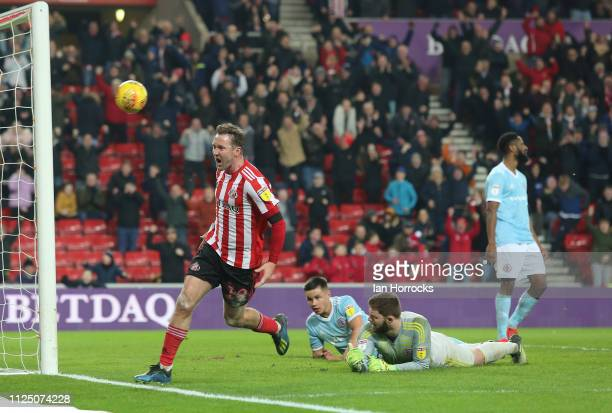 Aiden McGeady of Sunderland celebrates after scoring the second Sunderland goal during the Sky Bet League One match between Sunderland and Accrington...
