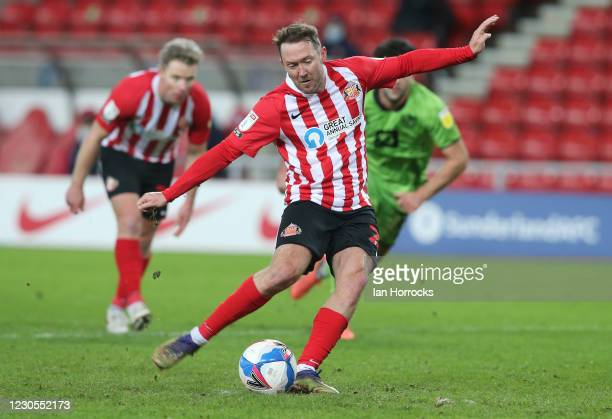 Aiden McGeady of Sunderland scores a last minute penalty during the Papa John's trophy match between Sunderland AFC and Port Vale FC at the Stadium...
