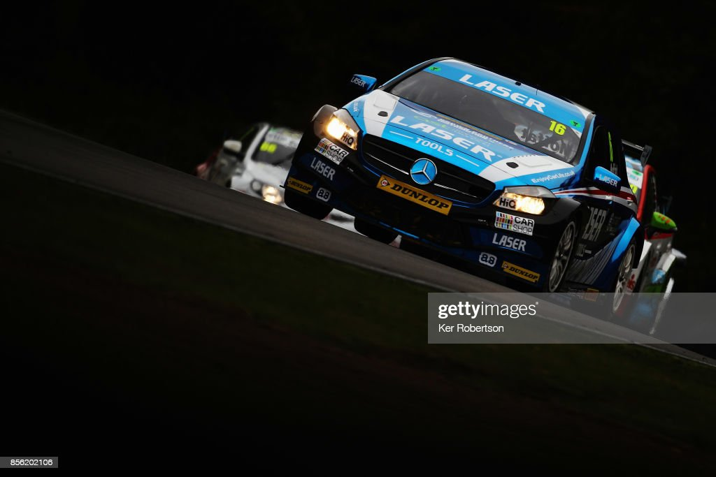Aiden Moffat of Laser Tools Racing Mercedes drives on his way to winning race one during the British Touring Car Championship finale at Brands Hatch on October 1, 2017 in Longfield, England.