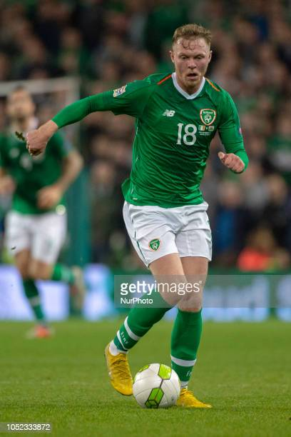 Aiden O'Brien of Ireland controls the ball during the UEFA Nations League B match between Republic of Ireland and Wales at Aviva Stadium in Dublin...
