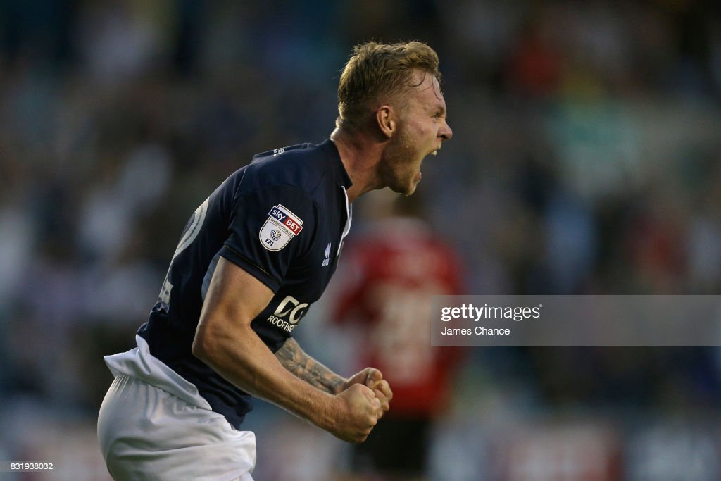 Aiden O'Brien of Millwall celebrates scoring his sides second goal during the Sky Bet Championship match between Millwall and Ipswich Town at The Den on August 15, 2017 in London, England.