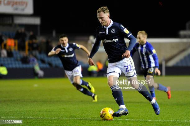 Aiden O'Brien of Millwall runs with the ball during the Sky Bet Championship match between Millwall and Sheffield Wednesday at The Den on February 12...