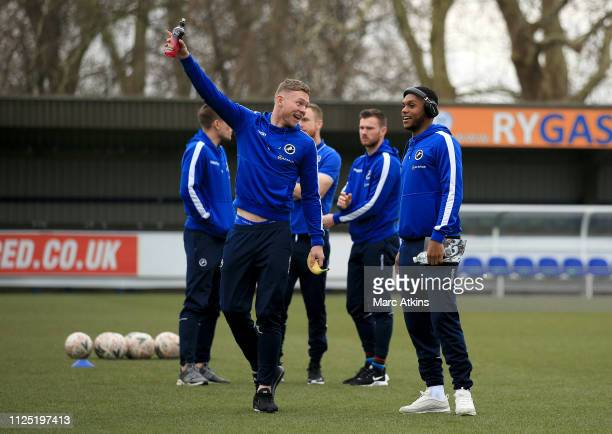 Aiden O'Brien of Millwall speaks to Mahlon Romeo of Millwall on the pitch prior to the FA Cup Fifth Round match between AFC Wimbledon and Millwall at...