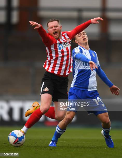 Aiden O'Brien of Sunderland is fouled by Luke McCormick of Bristol Rovers during the Sky Bet League One match between Bristol Rovers and Sunderland...
