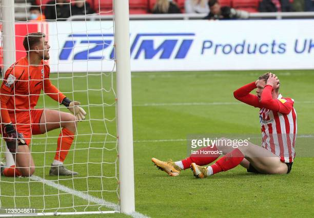 Aiden O'Brien of Sunderland reacts after he has a shot saved during the Sky Bet League One Play-off Semi Final 2nd Leg match between Sunderland and...