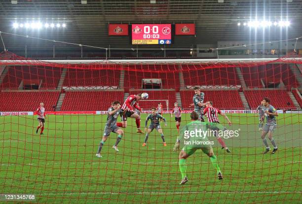 Aiden O'Brien of Sunderland scores the first goal with a header during the Sky Bet League One match between Sunderland and Fleetwood Town at Stadium...