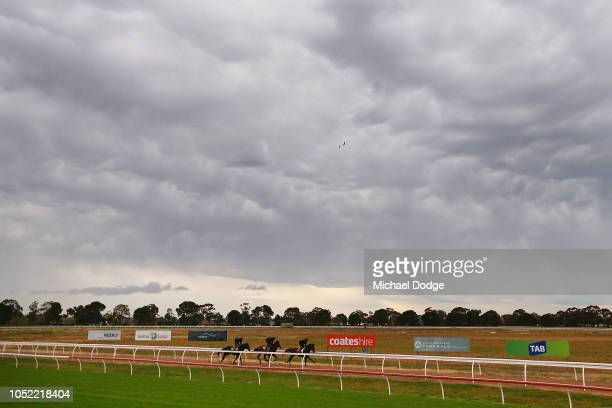 Aiden O'Brien trained horses gallop during a Werribee Trackwork Session at Werribee Racecourse on October 16 2018 in Melbourne Australia