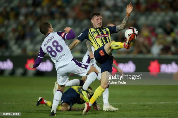 Aiden O'Neill of the Central Coast Mariners in action during the round 10 ALeague match between the Central Coast Mariners and the Perth Glory at...