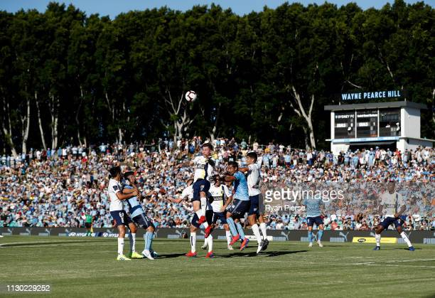 Aiden O'Neill of the Mariners hwads the ball during the round 19 ALeague match between Sydney FC and the Central Coast Mariners at Leichhardt Oval on...