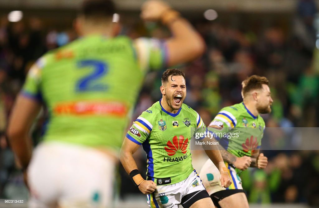 Aiden Sezer of the Raiders celebrates kicking a field goal to wing the round 12 NRL match between the Canberra Raiders and the Manly Sea Eagles at GIO Stadium on May 25, 2018 in Canberra, Australia.