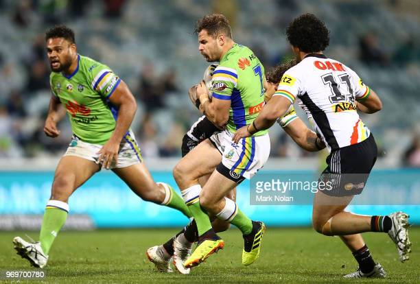 Aiden Sezer of the Raiders in action during the round 14 NRL match between the Canberra Raiders and the Penrith Panthers at GIO Stadium on June 8...
