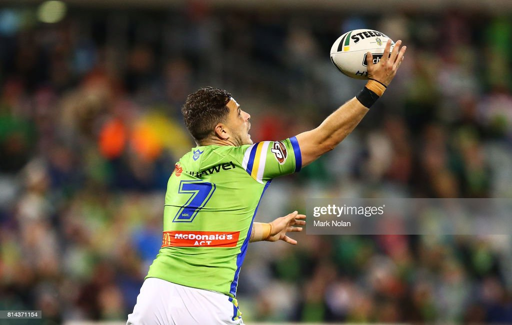 Aiden Sezer of the Raiders takes an intercept to score a try during the round 19 NRL match between the Canberra Raiders and the St George Illawarra Dragons at GIO Stadium on July 14, 2017 in Canberra, Australia.